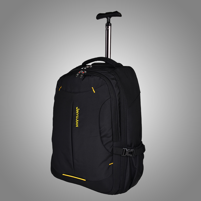 Trolley backpack adult school bag belt wheel double-shoulder pull package end of a single waterproof luggage,19 21inch Multiuse universal uheels trolley travel suitcase double shoulder backpack bag with rolling multilayer school bag commercial luggage
