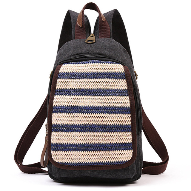6c2f7ad7a8 Women Backpack Simple Chest Pack Small Vintage Canvas Backpacks School Bags  Casual Travel Mochila One Shoulder Strap Rucksack
