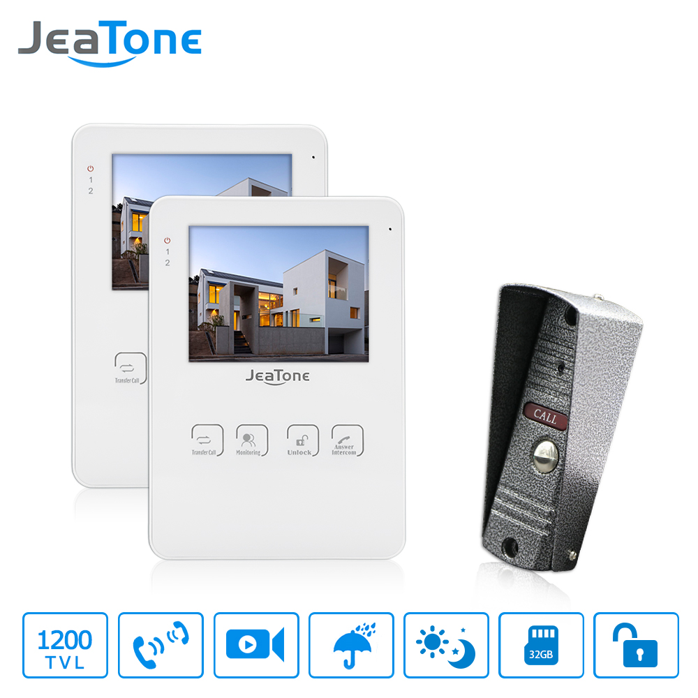 JeaTone 4 Wired LCD Color Touch Key Monitor Video Door Phone Doorbell Intercom System Night Vision 1200TVL High Resolution 2v1 jeatone 7 lcd monitor wired video intercom doorbell 1 camera 2 monitors video door phone bell kit for home security system