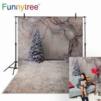 Fondos de árboles divertidos para estudio fotográfico, telón de fondo de Navidad, árbol, nieve, invierno, vid, pared, vintage, fotografía, photophone photozone