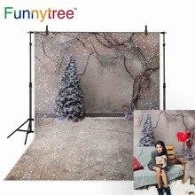 Funnytree backgrounds for photo studio Christmas backdrop tree snow winter vine vintage wall photography photobooth photocall недорого