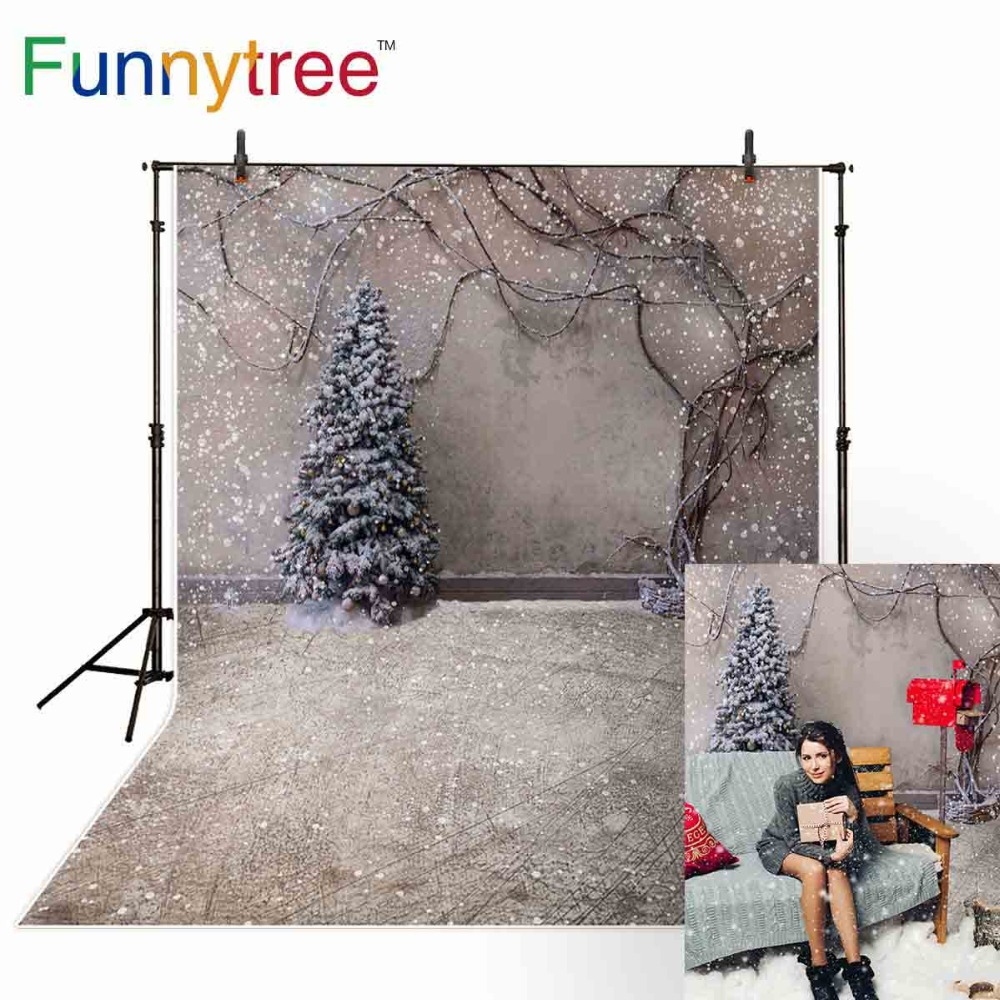 Funnytree backgrounds for photo studio Christmas tree snow winter vine vintage wall photography backdrop photobooth photocall цена 2017