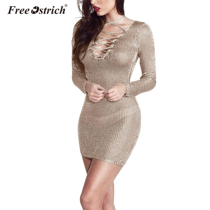 Free Ostrich Fashion Sexy Perspective Dress Bodycon Beach Knitted Dresses Long Sleeve Sheath Criss-Cross Vestido Female D45 forefair fashion slim knitted party dresses women clothing 2018 spring long sleeve sexy criss cross v neck bodycon dress vestido