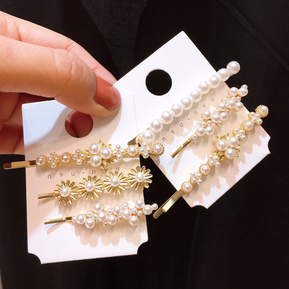 Korea Handmade Solid Simulated pearl Barrettes Hairpins Hair clips for Women Head wear Accessories-SWAWHRP042C5