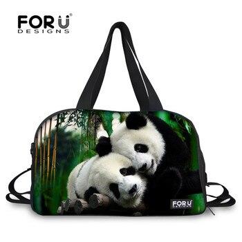 FORUDESIGNS Cute Panda Penguin Animal Nylon Sport Bag Training Gym Bag Men Woman Fitness Bags Durable Sac De Sport Shoe Socket