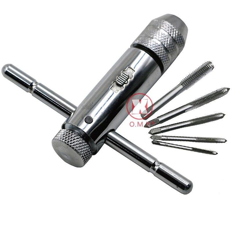 Werkzeuge Honig Omy 5 Teile/satz M3-m8 Gerade Nut Tap Hand Schraube Tap Mit T-griff Ratsche Windeisen Qualität Lager Stahl Gerade Flöte Wasserhähne Heller Glanz