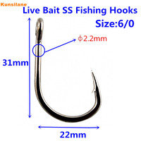80pcs 10827 Size 6 0 Stainless Steel Saltwater Fishing Hooks No Rust Fishing Gear Tackle