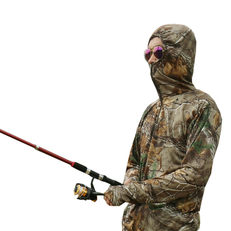 Summer Ultra-Thin Quick-Drying Bionic Camouflage T-Shirt Tops Male Hunting Fishing Hiking Sunscreen Hooded T-Shirts Long Sleeve 1