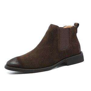 Image 5 - 2019 בציר גברים נעלי עור אמיתי צ לסי מגפי זמש קרסול אתחול גברים של אופנה אביב סתיו מגפיים להחליק על נעליים zapatos