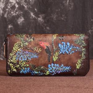 Image 5 - Portefeuille de luxe, en cuir véritable, doiseaux du sud, pochette en relief, sac de téléphone de bonne qualité