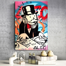 Alec Monopoly Bag Guy Money Canvas Painting Prints Living Room Home Decoration Modern Wall Art Oil Posters Pictures HD
