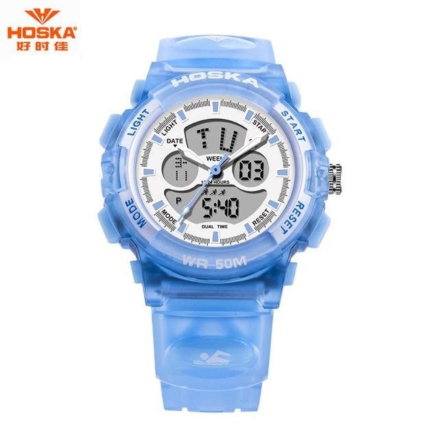 2017 HOSKA 50 м Водонепроницаемый Dive Спорт Led Электронные Часы Мужчины Люксовый Бренд Часы С Шок Силиконовые Цифровой Наручные Часы HD005