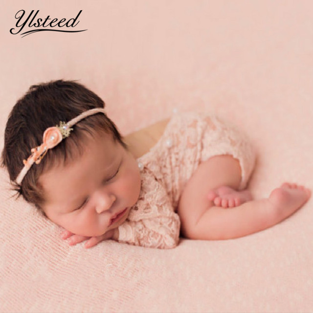 Newborn lace romper baby boho bloomer jumper baby girl pearl pink romper newborn photography props baby