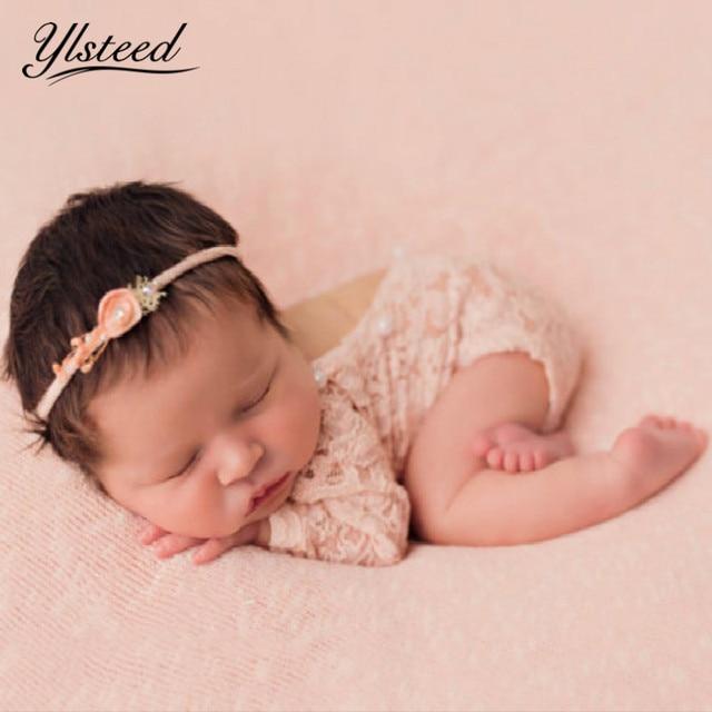 00720d084 Newborn Lace Romper Baby Boho Bloomer Jumper Baby Girl Pearl Pink Romper  Newborn Photography Props Baby Fotografie Bebe Fotos