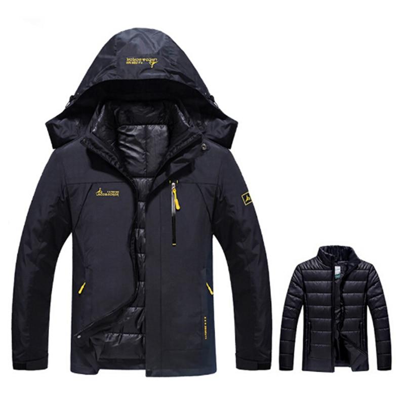 Grande taille 6XL hiver thermique veste hommes imperméable épais chaud 2 en 1 Parkas mâle coupe-vent veste militaire à capuche manteau Outwear