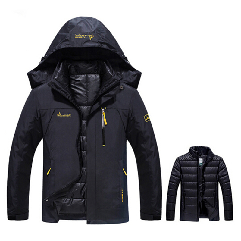 Plus Size 6XL Winter Thermal Jacket Men Waterproof Thick Warm 2 in 1 Parkas Male Windbreaker Military Jacket Hooded Coat Outwear