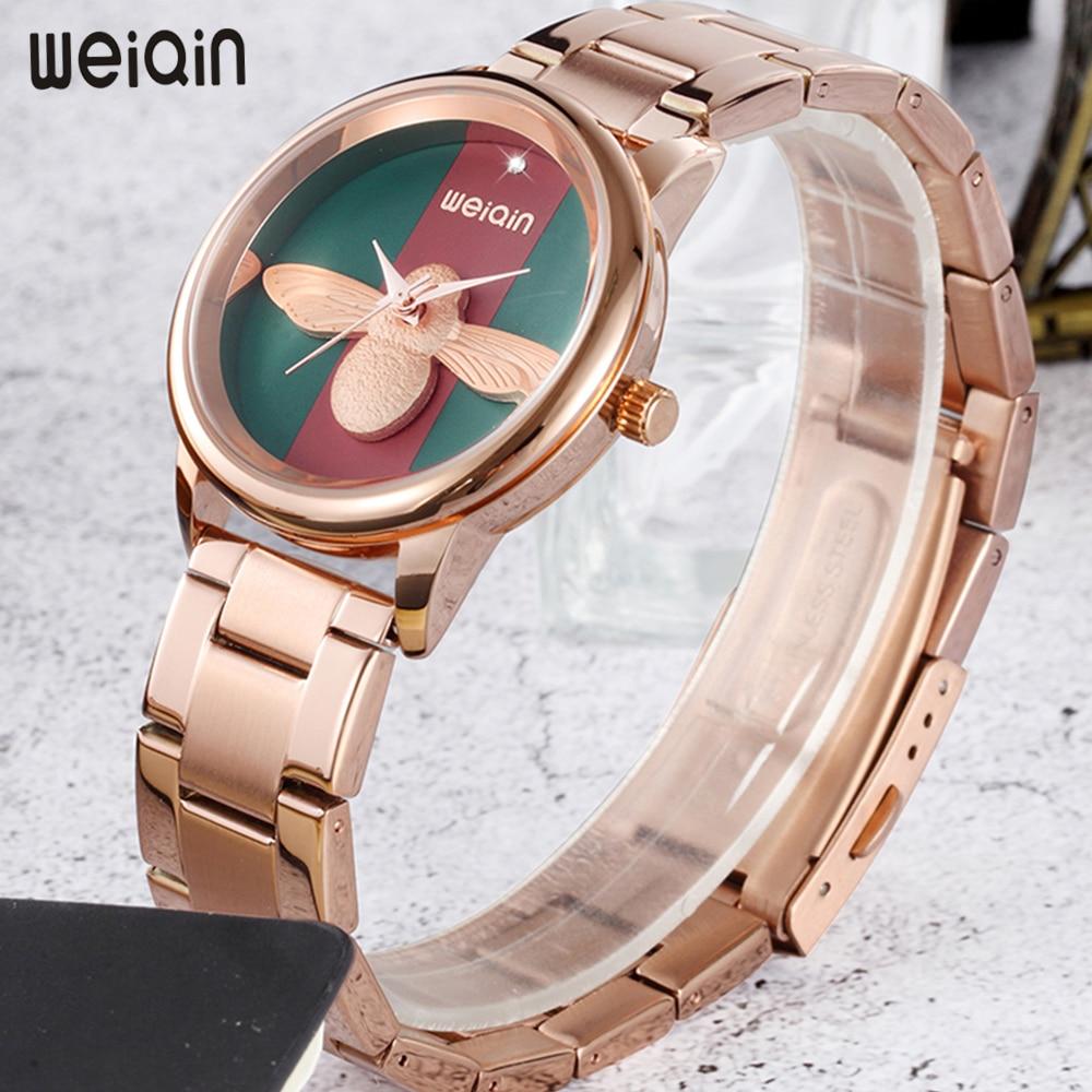 WEIQIN New Fashion Women Watches Rose Gold Luxury Steel Watch Waterproof Quartz Bracelet Ladies Watch Wrist relogio feminino weiqin new 100