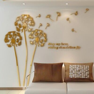 Moderne minimalistische paardebloem 3D driedimensionale muurstickers ...