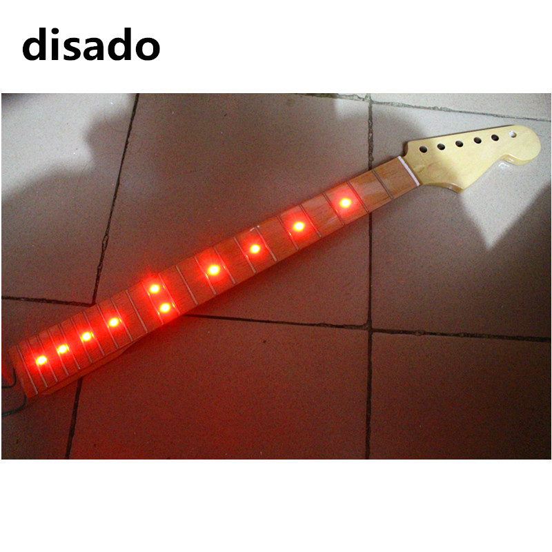 disado 22 Frets maple Electric Guitar Neck maple fretboard inlay red LED lights guitar parts accessories can be customized disado 24 frets inlay dots maple electric guitar neck maple fingerboard wood color black headstock guitar accessories parts