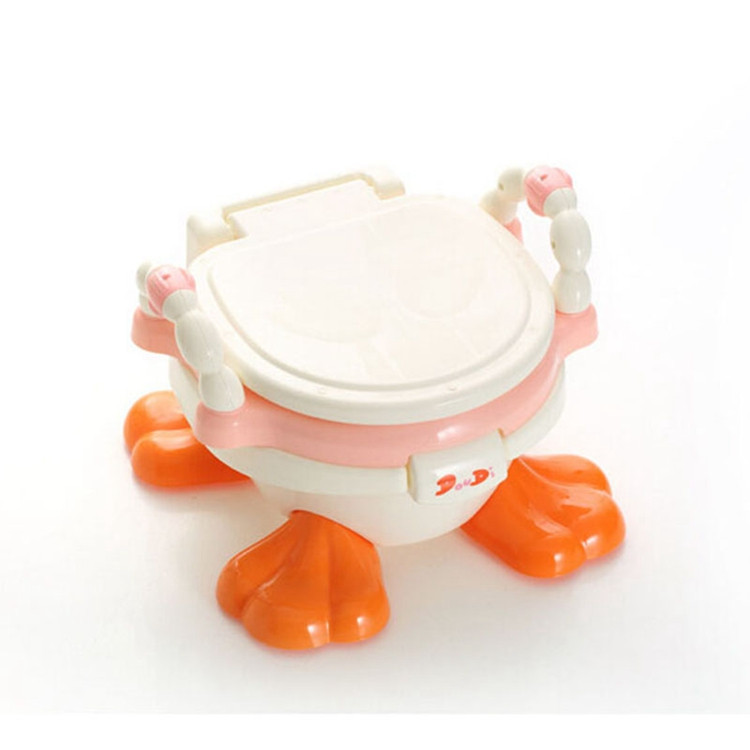 ФОТО Toilet Kid Baby Travel Potty Training Orinal Multifunctional Baby Plastic Toilet Seat Cute Duck Comfortable Toilet Chair For Kid