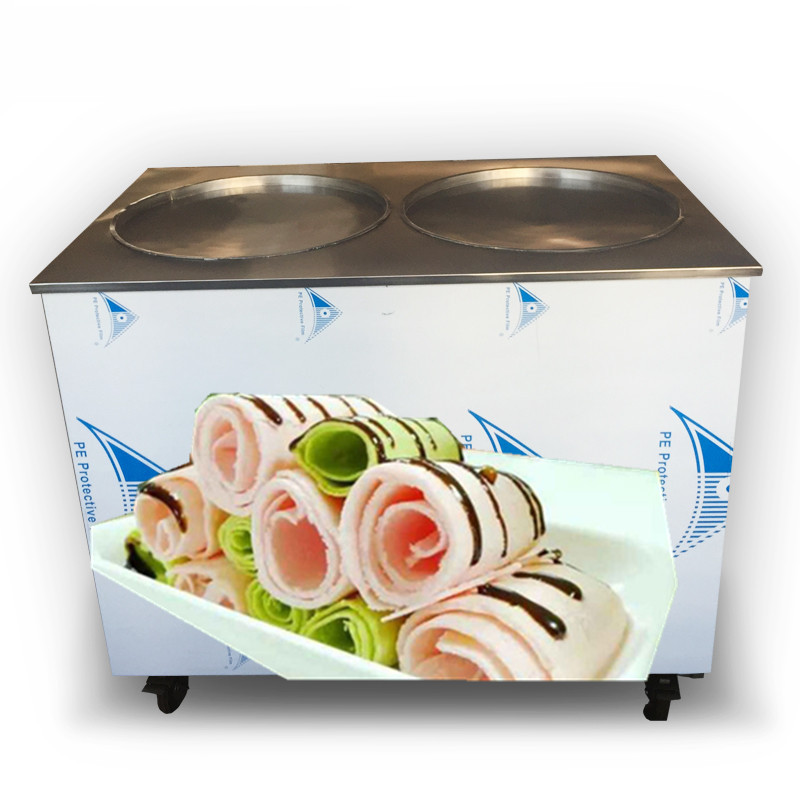 free shiping fried ice cream roll machine,double round pan(50*50cm)fried ice machine,double compressor rolled ice cream machine free shipping big pan 50cm round pan roll machine automatic fried ice cream rolling rolled machine frying soft ice cream make