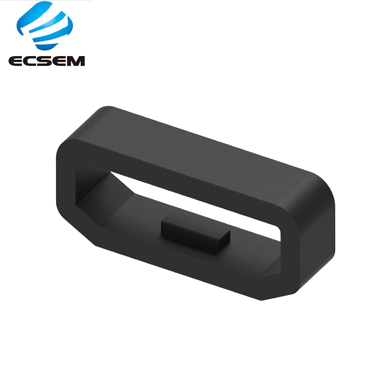 ECSEM Silicone Rubber Loop Replacement For Garmin Vivosmart HR+ Watch Band Keeper Safety Buckle Size18mm Fixed Role