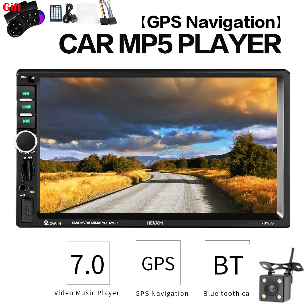 2 Din 7'' Car Multimedia MP5 Player <font><b>GPS</b></font> Navigation Camera Map Touch Screen Bluetooth MP4 MP5 Video Stereo Radio Player <font><b>7018G</b></font> image