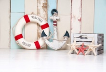 Laeacco Wooden Board Swimming Ring Anchor Baby Child Photography Background Customized Photographic Backdrops For Photo Studio