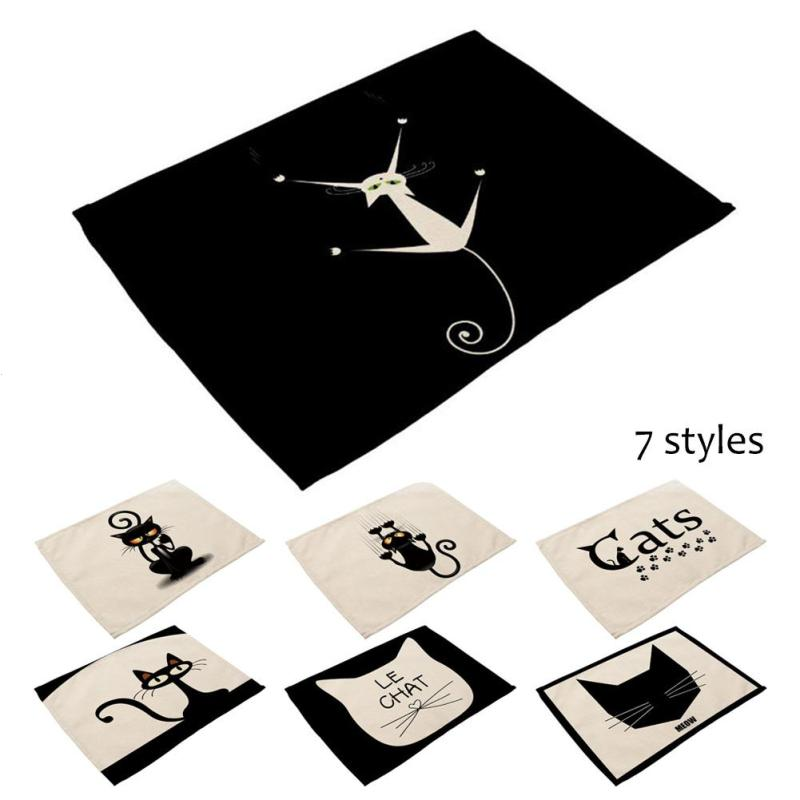 1 PCS Blcak Cat Style Dining Table Placemat Tableware Pad Coaster Coffee Tea Place Mat Kitchen Tools Cotton Linen Table Mat A30