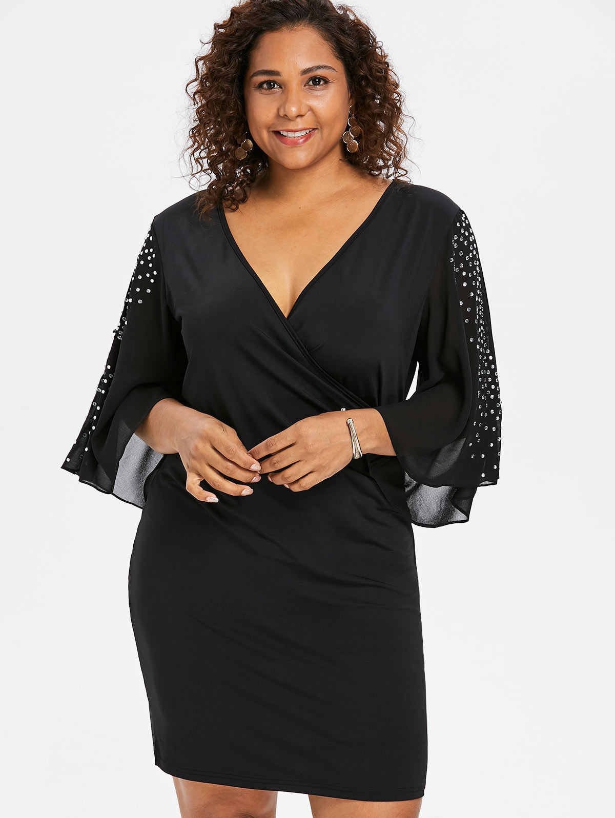Wipalo Sexy Plus Size Elegant Flare Slit Sleeve Sheath Dress Rhinestone Embellished V-Neck Black Dress 2018 Large Sizes Vestido