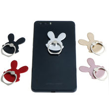 Universal 1Pc Rabbit Design Phone Holder 360 Degree Metal Finger Ring Mobile Phone Stand Holder For iPhone Samsung(China)
