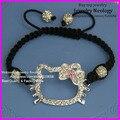 12pcs Wholesale Macrame Handmade shamballa alloy bead bracelet, Rhinestone Kids Adults Hello kitty bracelet