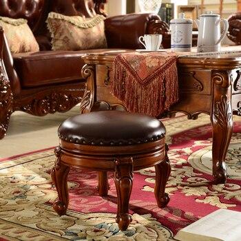European leather carving art 100% solid wood stools pouf rotatable footstool ottoman oak furniture upscale living room furniture