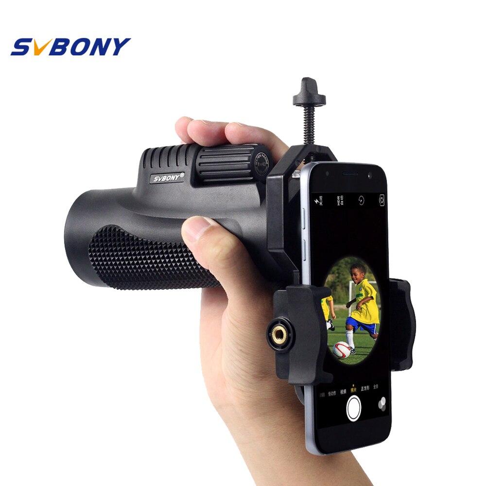 цена на SVBONY 8x42 Monocular Telescope Waterproof with Phone Adapter Camping Focus Travel Binoculars Birdwatch F9116AB