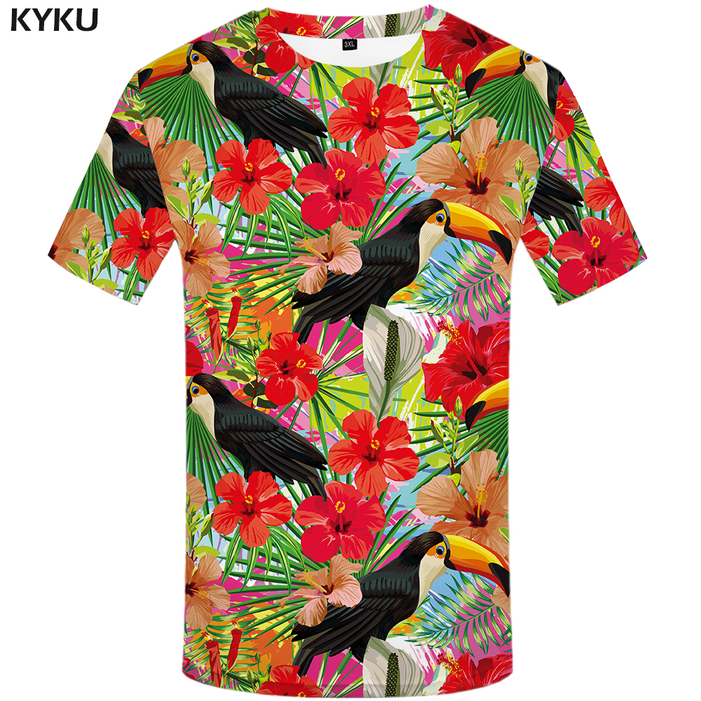 KYKU Parrot T Shirt Men Flower Tshirt Hip Hop Tee Red 3d Print - Мужская одежда