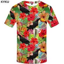 KYKU Parrot T krekls Vīriešu ziedu krekls Hip Hop Tee sarkans 3d drukas T-krekls Cool vīriešu apģērbs 2018 Jaunas vasaras ikdienas topi Streetwea