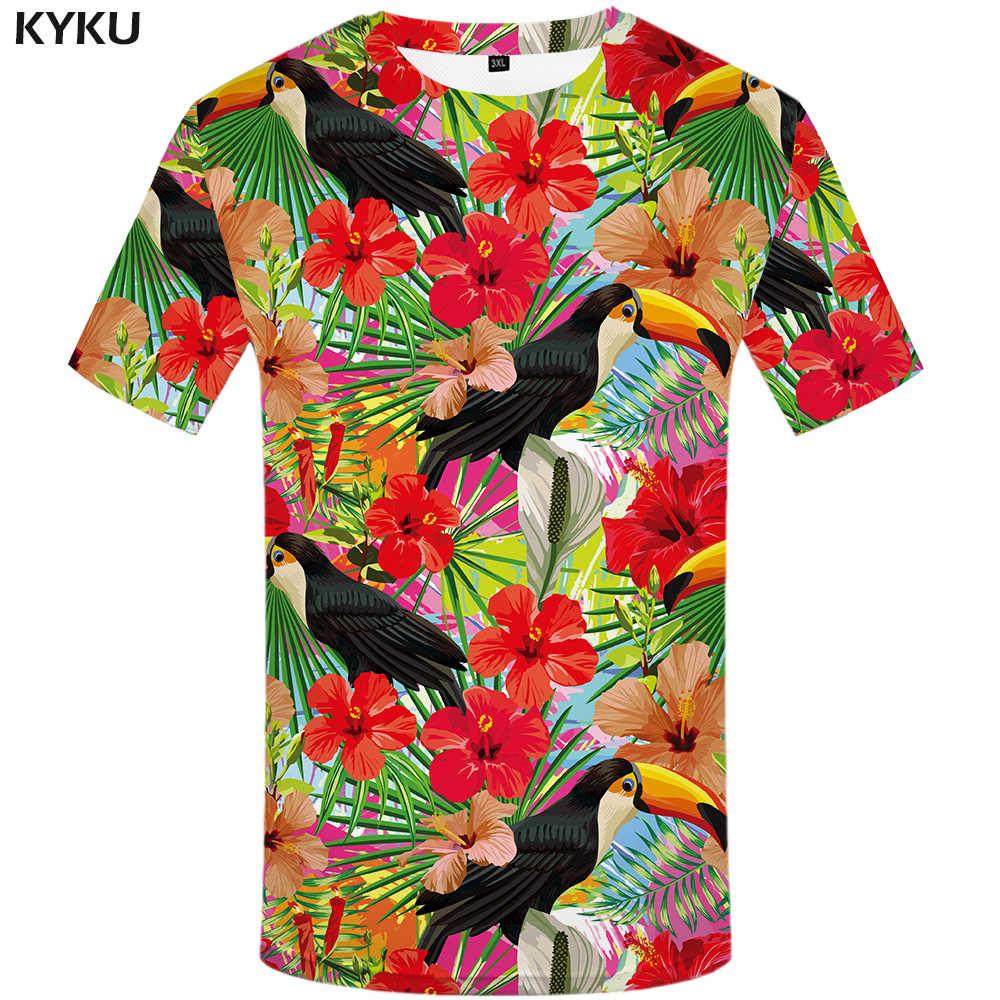 840c8905b13 KYKU попугай Футболка мужская футболка с цветами хип-хоп Футболка Красный  3d принт футболка крутая