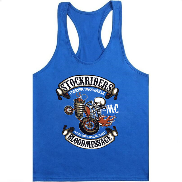 2018 Summer Stockriders Motorcycle Men gyms Tank Top Bodybuilding Sleeveless Brand Casual Shirts mens Skull gyms vest tank Tops