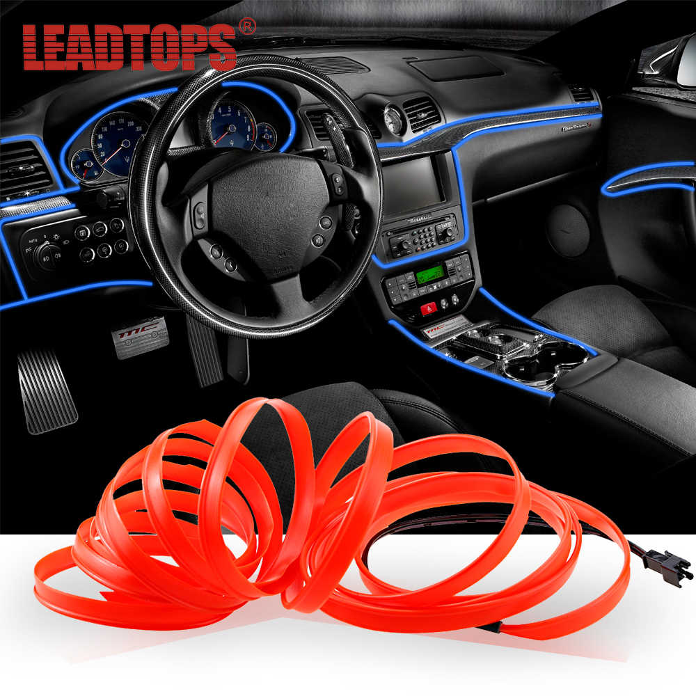 LEADTOPS 1set 4M Car LED Decoration Sticker With Cigarette Car Interior Car-Styling Moulding Trim Strip line Sticker BJ