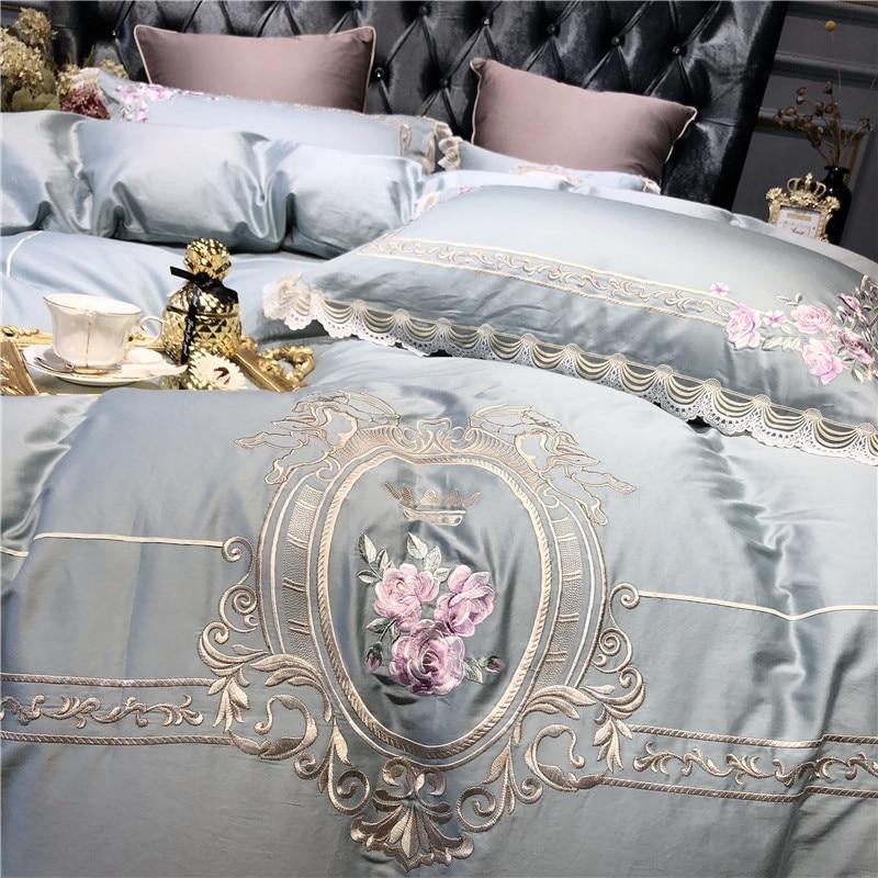 라이트 블루 핑크 럭셔리 유럽 목가적 인 자수 이집트 면화 침구 세트 이불 커버 침대 시트 베개 케이스 퀸 킹 사이즈-에서침구 세트부터 홈 & 가든 의  그룹 2