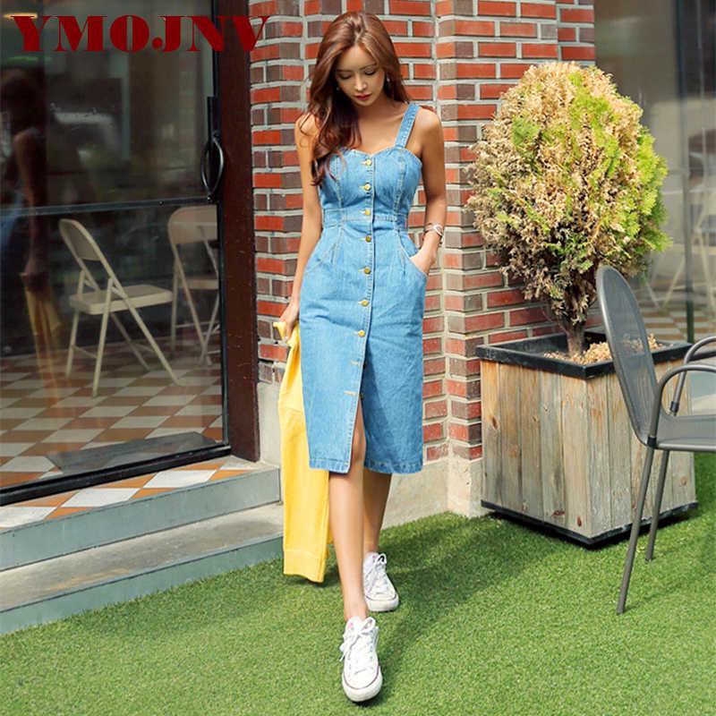 6ccddc7a YMOJNV 2019 Sexy Sleeveless Backless Bow Tie Strap Jeans Dress Women Single- Breasted Pocket Denim