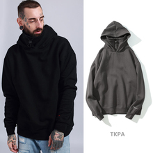 cotton solid color hooded  hoodie men velvet long loose sweatshirts autumn winter 2019 hip hop fashionable streetwear