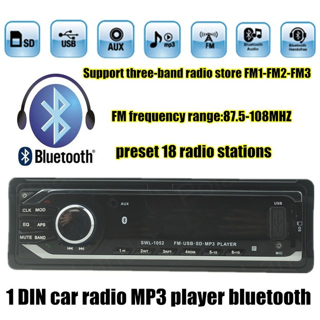 US $23 8 32% OFF| best selling Car radio Car Audio Stereo 12V Player  Bluetooth AUX IN MP3 FM USB 1 Din With Remote Control For Car Radio-in Car  Radios