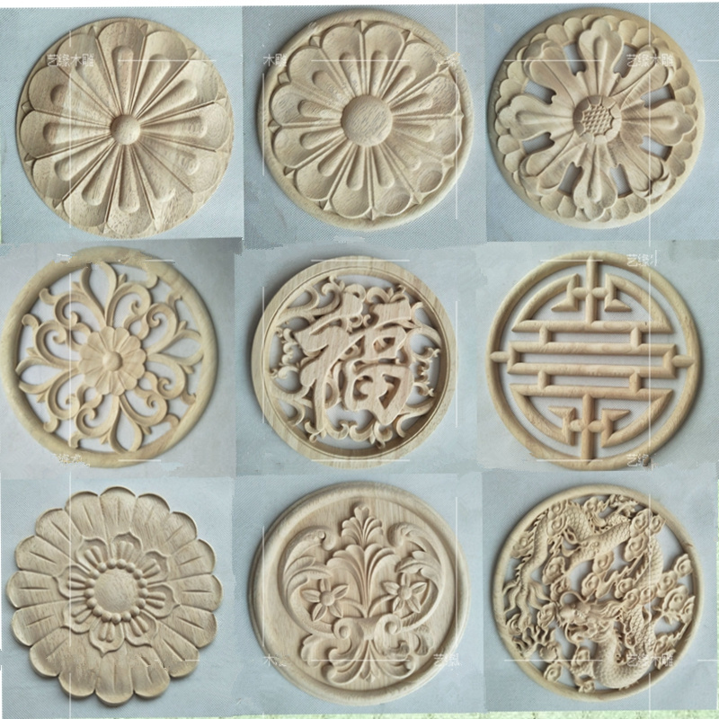 2pcs/lot WSHYUFEI Wood Carving Natural Wood Appliques for ...