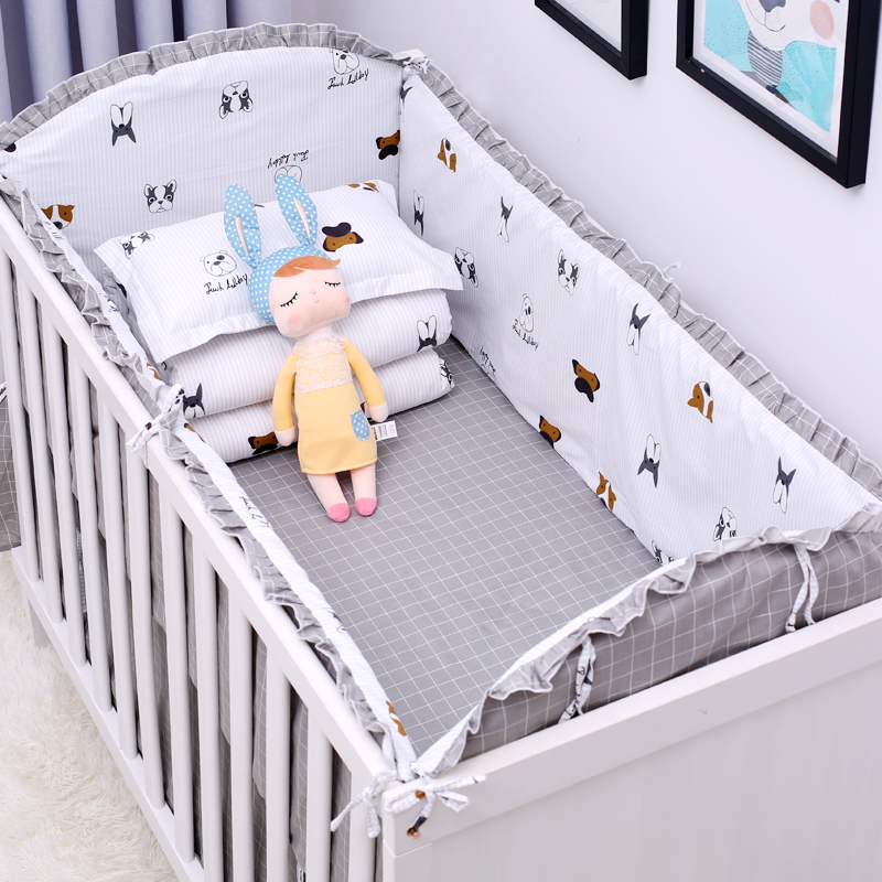 New 6Pcs Cartoon Plane Baby Bed Bumpers for Boys Crib Cot Bumper Baby Bed Protector Crib Bumper Newborns Toddler Bed Bedding Set 5pcs set baby bed bumper infant bed cot bumper bed protector breathable baby crib protector cushion toddler nursery bedding