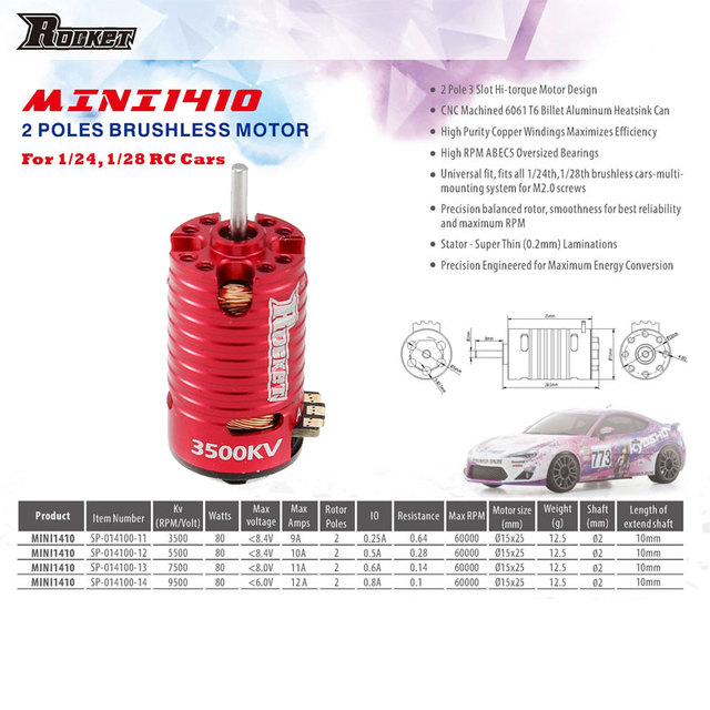 Motore brushless a 2 poli per modellini radiocomandati da 1//24 1//28 Rakete Mini Z 3500KV