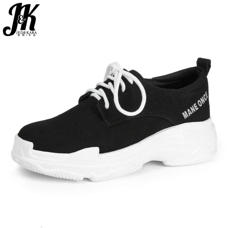 JK Autumn Platform Women' S Vulcanize Shoes Round Toe Flock Footwear Lady Dorky Dad Shoes Girl Sneakers Shoes Woman Lace Up 2018