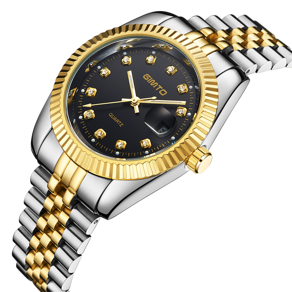 Men watches quartz business luxury gold fashion brand GIMTO stainless steel band classic waterproof masculine wristwatch