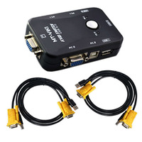 2 PORT USB KVM VGA SVGA SWITCH BOX CABLES FOR PC MOUSE KEYBOARD MONITOR KYB VID