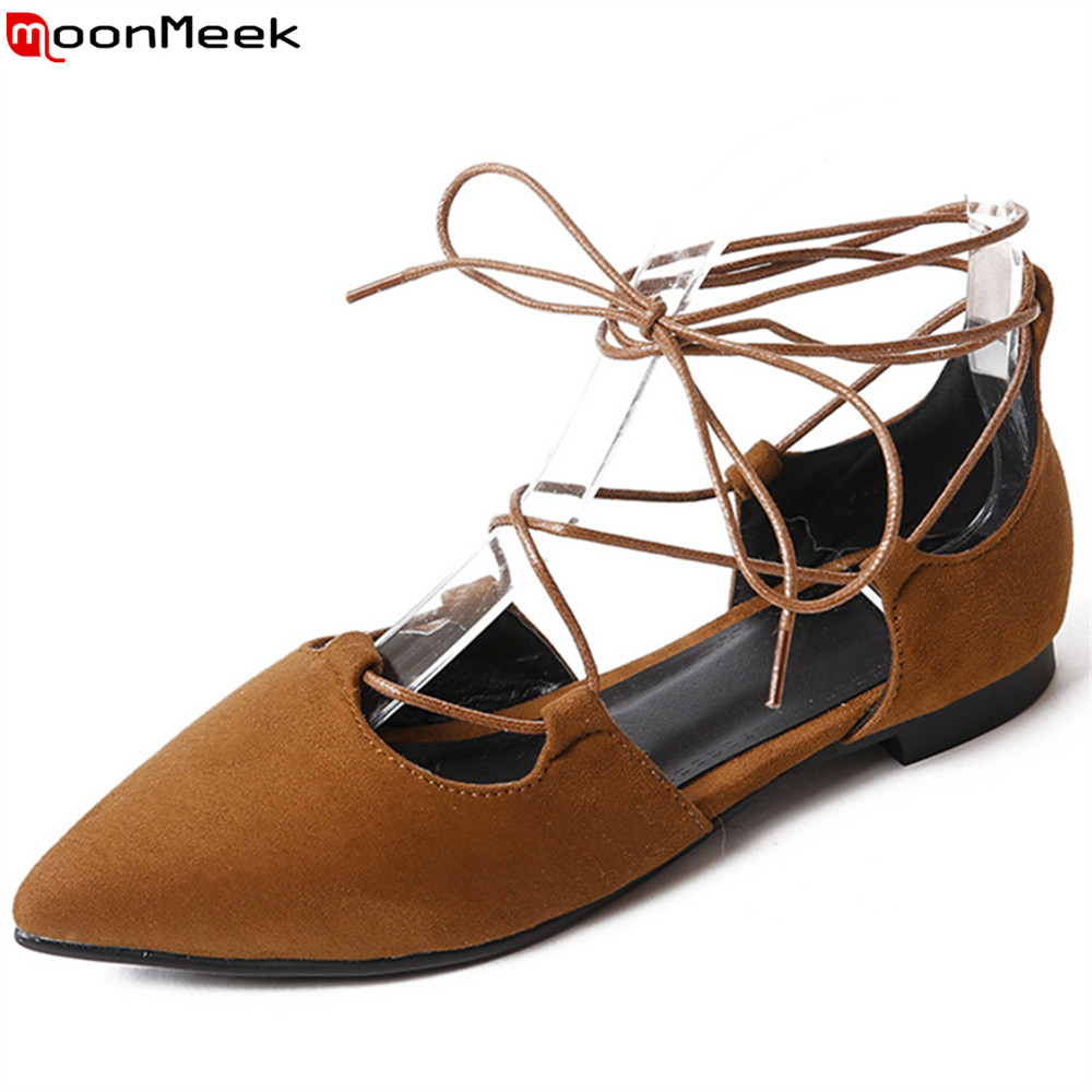 MoonMeek 2018 fashion spring autumn flat shoes woman pointed toe cross tied casual flock women flats big size 33-43 moonmeek 2018 fashion spring autumn flat shoes woman pointed toe cross tied casual flock women flats big size 33 43